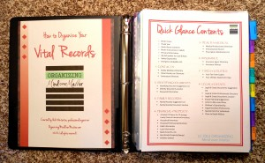 The Organizing Store Vital Records Binder Kit Contents