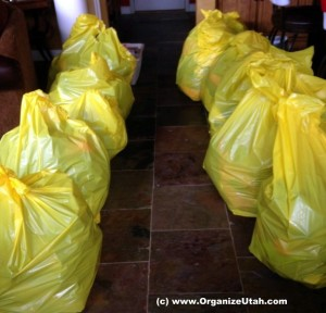 10 bags of clothes to donate