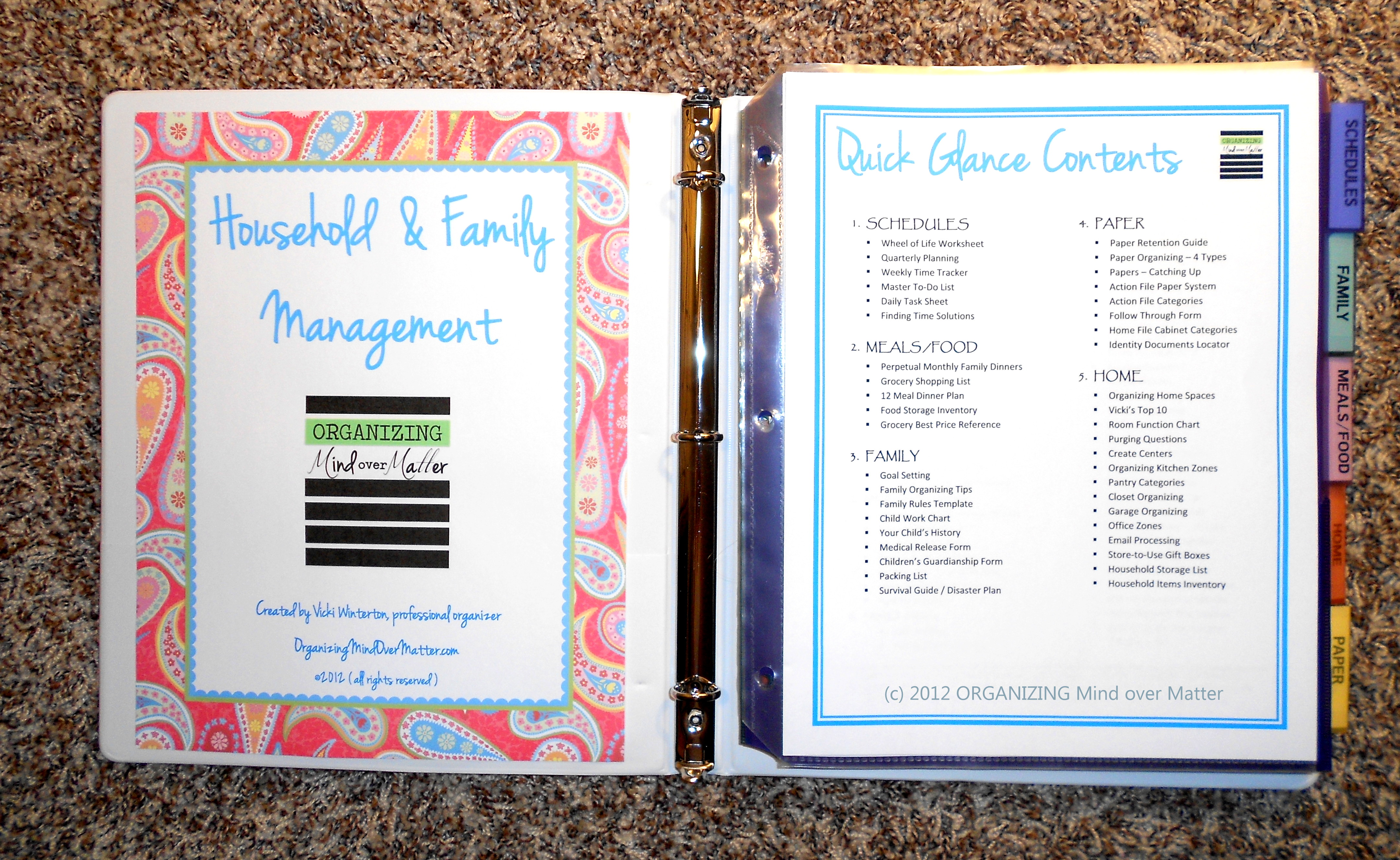 Household And Family Management Binder Kit